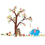 ElecMotive Forest Animal Elephant Monkey Owls Bear Tortoise Koala Tree Nursery Wall Stickers Wall Murals DIY Posters Vinyl Removable Art Wall Decals for Kids Girls Room Decoration (Bear Under Tree) (Color: Bear Under Tree)