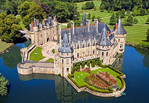 Puzzle 1000 Teile - Schloß Bretesche in Frankreich - an der Loire - Château de La in Missillac - Landschaft Schlößer Burg Wasserschloß