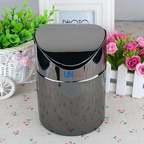 Uname Black Chrome Plating Stainless Steel Swing Top Trash Bin, 1.3 L, Un049