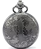 SEWOR Bronze Flowers Vintage Quartz Pocket Watch Shell Dial With Two Type Chain(Leather+Metal) (Black)