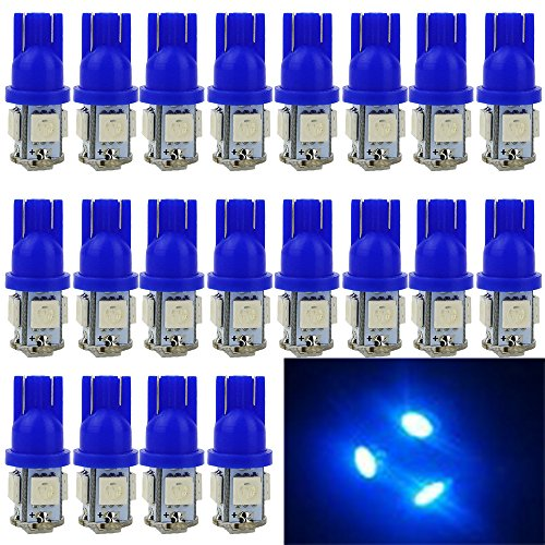EverBright 20-Pack Blue T10 194 168 2825 W5W 5050 5-SMD LED Bulb For Car Replacement Interior Lights Clearance Wedge Dome Trunk Dashboard Bulb License Plate Light Lamp  DC 12V (194 Led Bulb Blue compare prices)