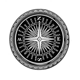 Fashion Creative Black Compass Design Chair Mat Vintage Ethnic Style Round Area Rugs Washable Non-slip Rug (2\'6x2\'6, Compass)