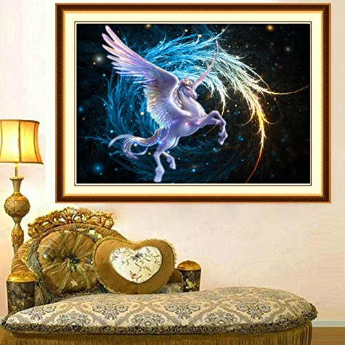 Adarl 5D DIY Diamond Painting Rhinestone Pictures Of Crystals Embroidery Fliying Horse Cross Stitch Purple (Horse Cross Stitch Charts compare prices)