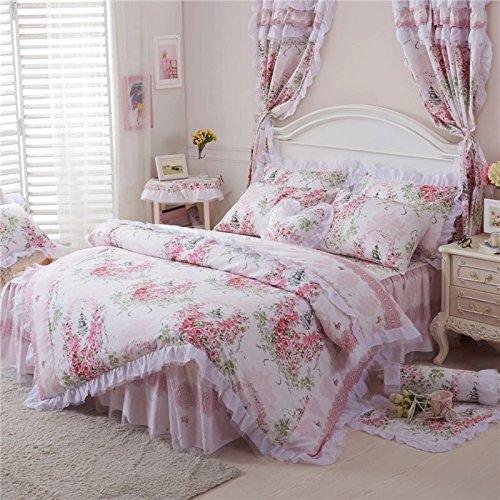 Best-Bedding-set-4-Piece-Cotton-Prined-Pink-Rose-Floral-Lace-Duvet-Cover-Sets-For-Girls-Full