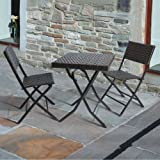 'Gina's' 3 Piece Folding Bistro Chair & Table Set : Rattan Wicker Effect (60cm) - Square Patio Table & 2 Folding Chairs - All weather - Outdoor & Indoor Use