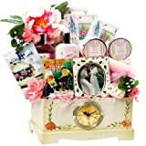Art of Appreciation Gift Baskets Victorian Lace Tea, Spa and Treats Gift Chest with Clock