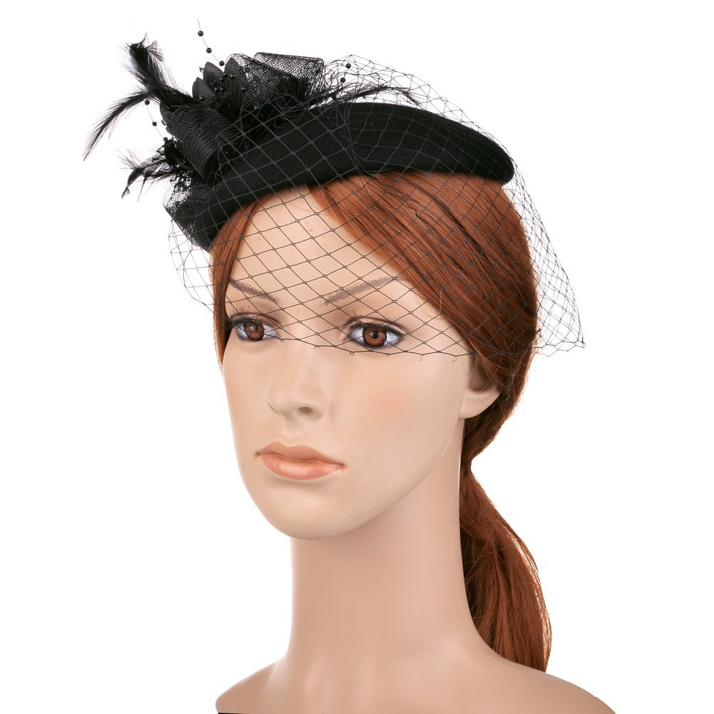 Vbiger Women's Fascinator Wool Felt Pillbox Hat Cocktail Party Wedding Bow Veil 1