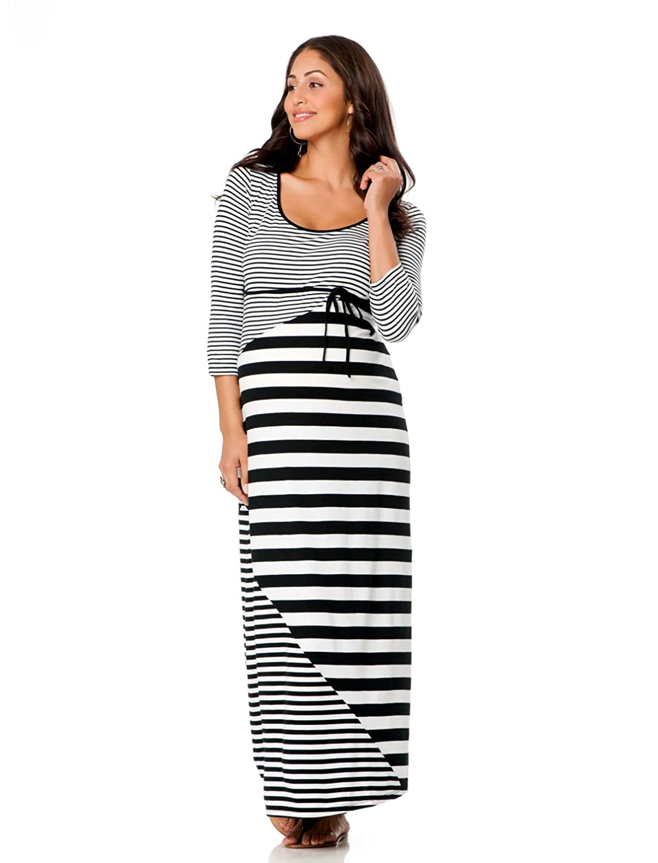 Платье для беременных Motherhood Elbow Sleeve Striped Maternity Maxi Dress