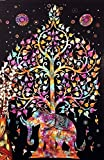 Kayso Elephant Tree Tapestry with Good Luck White Elephant Tapestry Hippie Gypsy Wall Hanging Tree of Life Tapestry and New Age Dorm Tapestry, Multi/Black