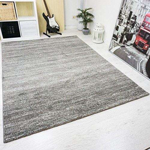 VIMODA viva6824 moderno pelo corto Tappeto screziato, certificazione Ökotex, colori reale, facile da pulire, grigio, 120 x 170 cm