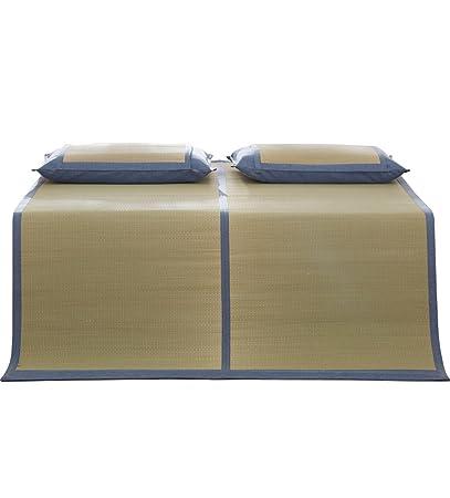 PENGFEI estera del verano Estera de hierba Estera natural se puede plegar conjunto de tres piezas de 1,5 m / espesor de la estera de verano / almohadilla de dormir Antideslizante transpirable ( Color : Mats+pillowcase*2 , Tamaño : 1.8m(6 ft) )