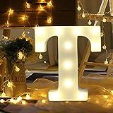 Light Up Letters,SMYTShop Warm White LED Letter Light Up Alphabet Letter Lights for Festival Decorative Letter Party Wedding (T) (Color: T)
