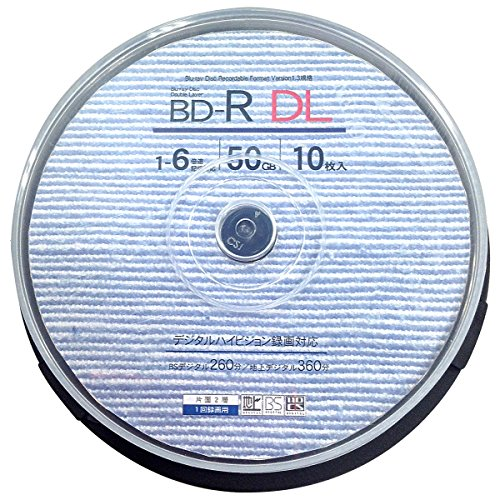 Good-J ブルーレイディスク BD-R DL ビデオ用(50GB) 片面2層 1回録画用 1-6倍速 ホワイトプリンタブル(ワイドプリント対応) 10枚 スピンドルケース GJBDL50-6X10PW