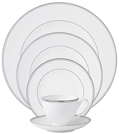 Kilbarry Platinum Rim Fine White Bone China 5-Piece Place Setting, Service for 1 by Waterford China