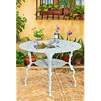 Antique Victorian Cast Aluminum Patio Dining Table - White Heart Product SKU: PF01022T