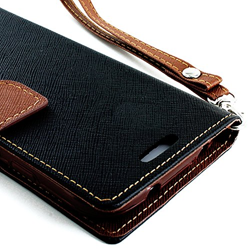 Images for myLife (TM) Dark Black and Brown {Classic Design} Faux Leather (Card, Cash and ID Holder + Magnetic Closing) Slim Wallet for the All-New HTC One M8 Android Smartphone - AKA, 2nd Gen HTC One (External Textured Synthetic Leather with Magnetic Clip)