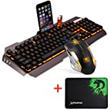 Kanzd New M938 LED Backlit Usb Ergonomic Gaming Keyboardwith Backlight Rainbow RGB Multicolor Water-Resistant + Gamer Mouse Sets + Mouse Pad (Black)
