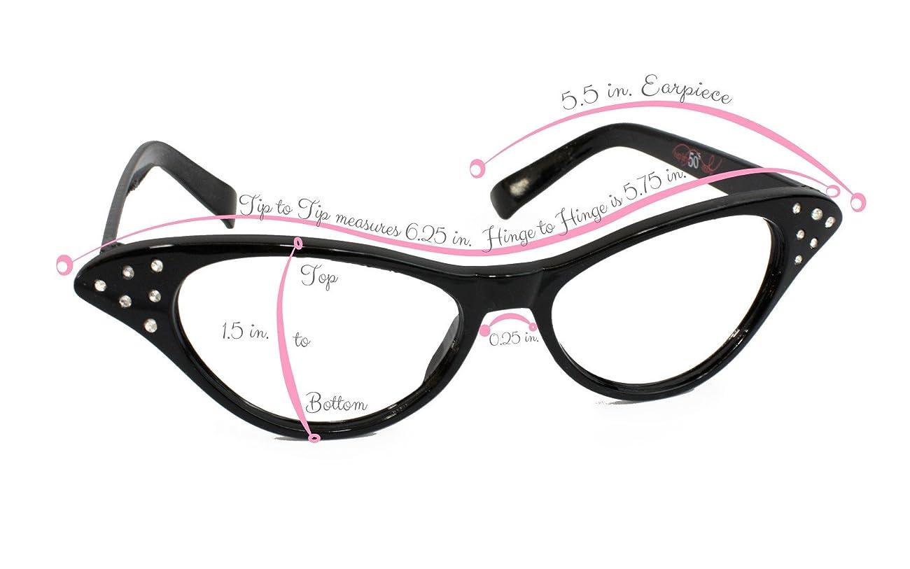 Hip Hop 50s Shop Womens Cat Eye Rhinestone Glasses 3