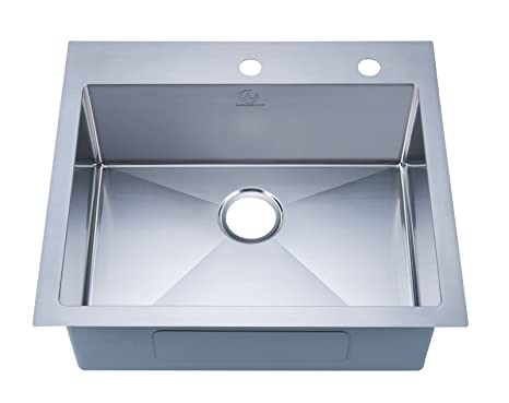 Stufurhome NW-2522SO Over Mount Stainless Steel 2-Hole Single Bowl Kitchen Sink, Satin, 25""