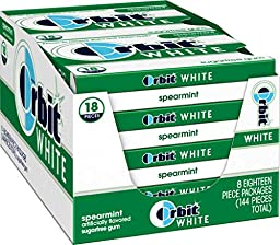 Orbit White Spearmint Sugarfree Gum, (Pack of 8)