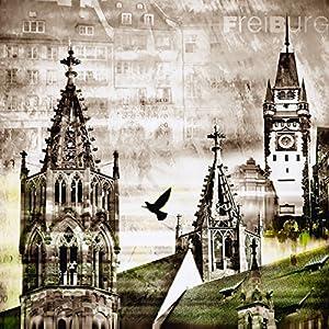 Poster Kunstdruck oder Leinwand-Bild-Druck Artland Wandbild fertig aufgespannt auf Keilrahmen Nettesart Freiburg Skyline Abstrakte Collage in verschiedenen Größen und Farben erhältlich