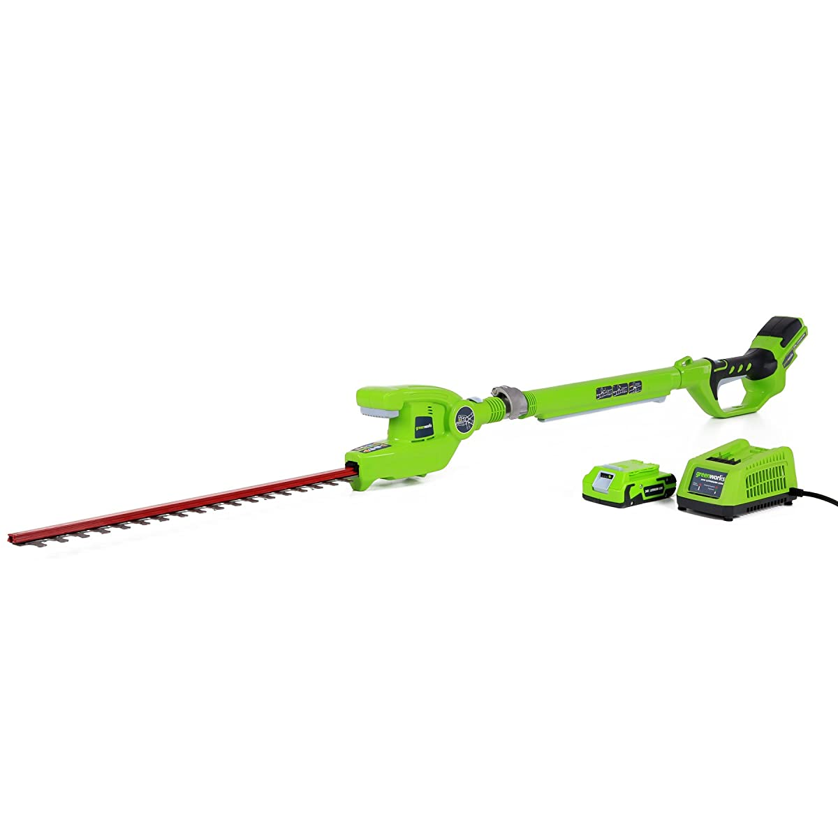 GreenWorks 22242 24V 20-Inch Cordless Pole Hedge Trimmer, 2Ah Battery and Charger Included