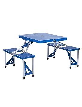 FPF Mesas plegables Balcón al aire libre Jardín Camping Mesa portátil y silla de juego Wild Leisure Beach tabla plegable (3 colores disponibles) Fácil de mover y llevar ( Color : Azul , Tamaño : L*W*H: 134*85*67cm )