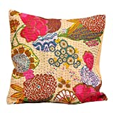 Eminent Craft Anastasia Decorative Throw Pillow / Cushion Cover Sand 16' X 16' Cotton Kantha Handmade in Jaipur India