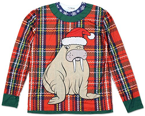 Faux Real Men's Plaid Walrus Ugly Sweater, Multi, X-Large