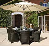 Leisuregrow Madrid 6 Seat Round Rattan Garden Furniture Set