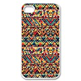Cute Multi Color Rainbow Aztec Chevron Pattern Vintage WHITE Sides Case Skin Cover Faceplate Protector Accessory