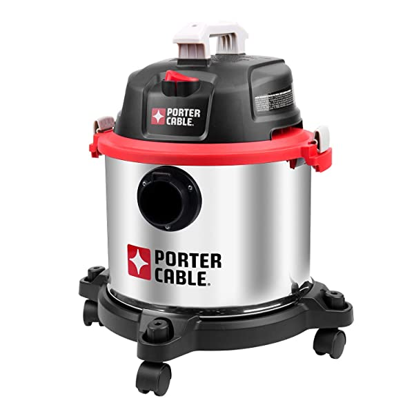 PORTER-CABLE Wet/Dry Vacuum, 5 Gallon, 4 Horsepower Stainless Steel Shop Vac PCX18406-5B (Color: Silver, Tamaño: 5Gallon-4HP)
