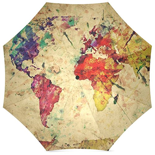 InterestPrint Vintage Map of the World Fold Umbrella 1
