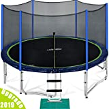 Zupapa 15 14 12 Ft TUV Approved Trampoline with Enclosure Net and Pole and Safety Pad and Ladder and Jumping Mat and Rain Cover 108 Springs Size 15 Feet (Color: black, Tamaño: 15FT)