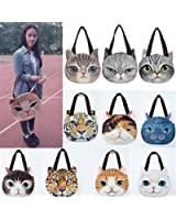OURBAG Women Fashion Shoulder Bag Tote Face Pussy Cat Cute Shopping Handbags