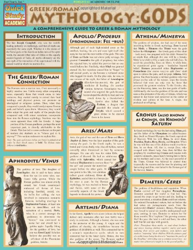 Greek/Roman Mythology: Gods: A Comprehensive Guide to Greek and Roman Mythology (Quickstudy Reference Guides - Academic)