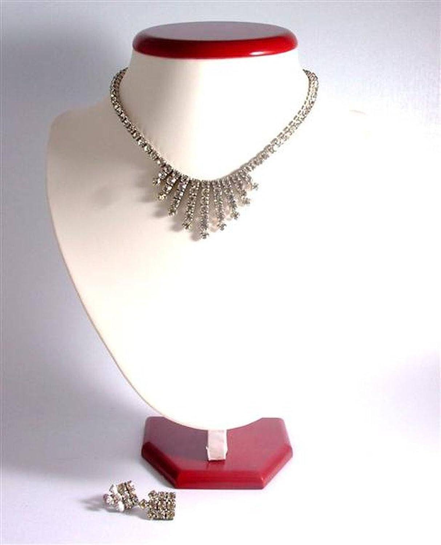 C1950 Garne klare Strasssteine vintage Damen Halskette und Ohrstecker Ohringe non – design 12379 schenken