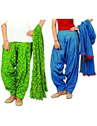 Rama Set Of 2 Printed Blue & Green Colour Cotton Full Patiala With Dupatta Set - B01NAON3SU