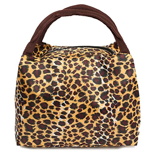 KINGSO Canvas Portable Lunch Bag Tote Storage Casual Picnic Pouch Leopard Print