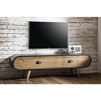Mueble de TV en estilo industrial Vintage Klaus en roble, 1cajón