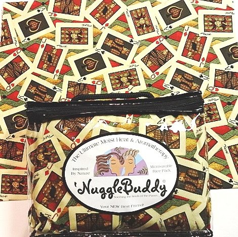 """'Nugglebuddy Microwavable Moist Heat & Aromatherapy Organic Rice Pack Cold Pack For Card Players! """"Card Shark"""" Fabric With Cinnamon Spice Aromatherapy"""