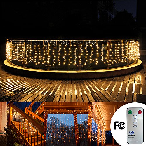 Christmas 33ftx3ft 480 Leds Curtain Icicle lights, Addlon 8 modes with Remote Window fairy Christmas lights,UL certificated Warm White string fairy lights for Home,Party, Outdoor, Wedding Backdrops (Christmas Lights Icicles Led compare prices)