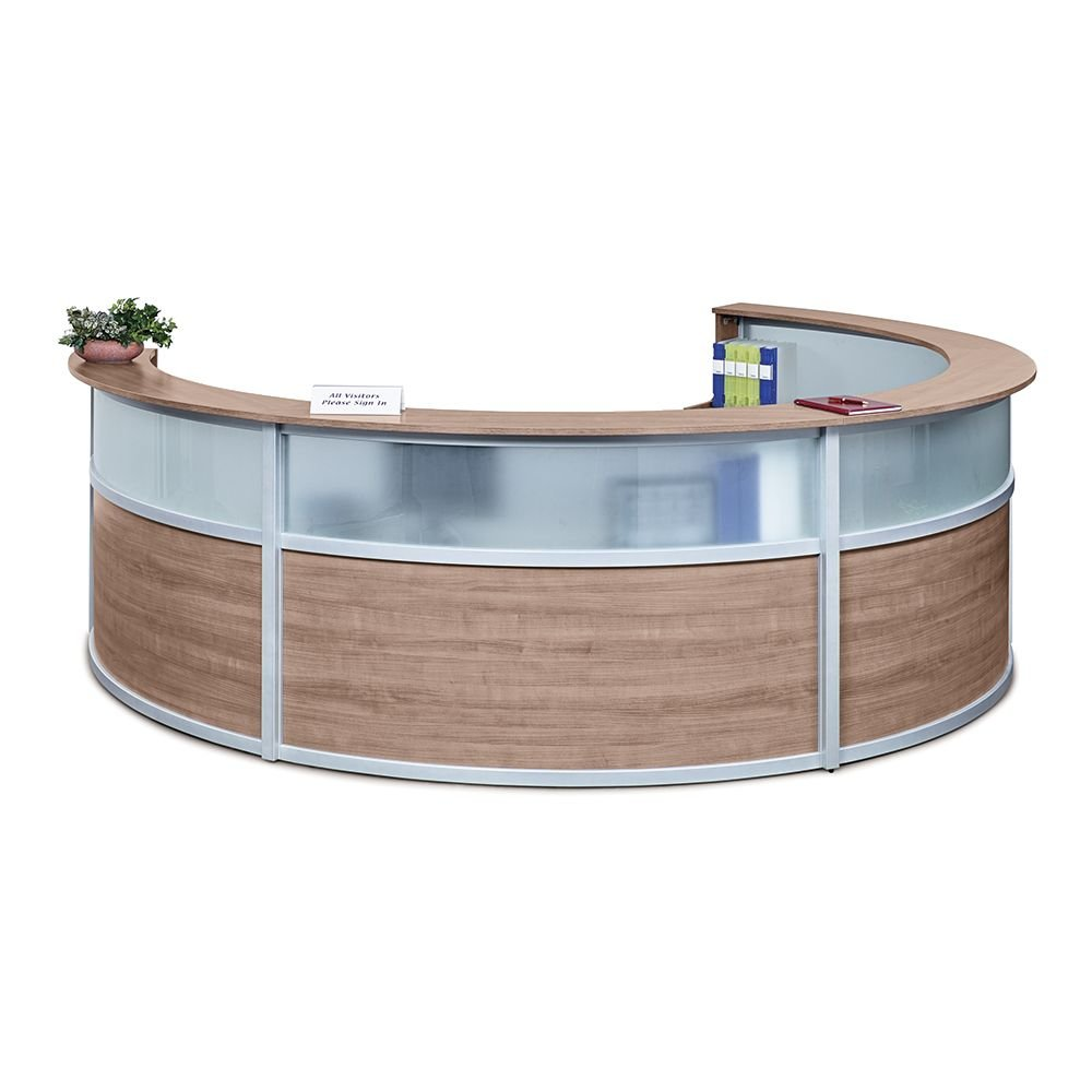 """Quad Curved Reception Desk with Glass Panel - 142""""W x 106""""D Stone Walnut Laminate/Silver Trim Dimensions: 140""""W x 106""""D x 42""""H Weight: 659 lbs.Line Drawing"""