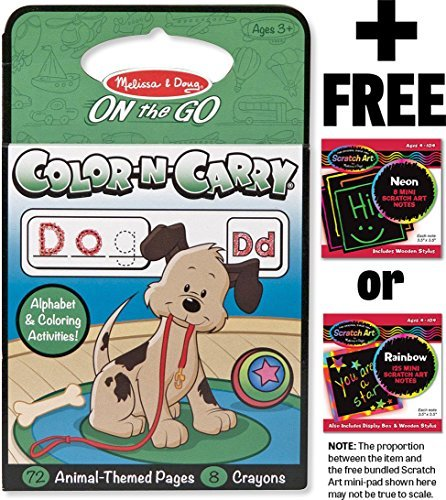 Animals: Color-n-Carry Coloring Book + FREE Melissa & Doug Scratch Art Mini-Pad Bundle [53938]