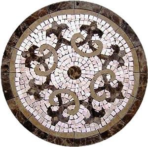 Tile Floor Medallion Marble Mosaic Fleur De Lis Design 24