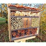BTV FDV-OS Hôtel à insectes au toit naturel en écorce de bois avec une maison à coccinelle et une maison à papillons idéal pour lutter contre les pucerons dans un jardin biologique Noir 50 cm