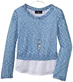 Amy Byer Big Girls Sweater with Shirt Hem and Necklace, Cobalt, Large