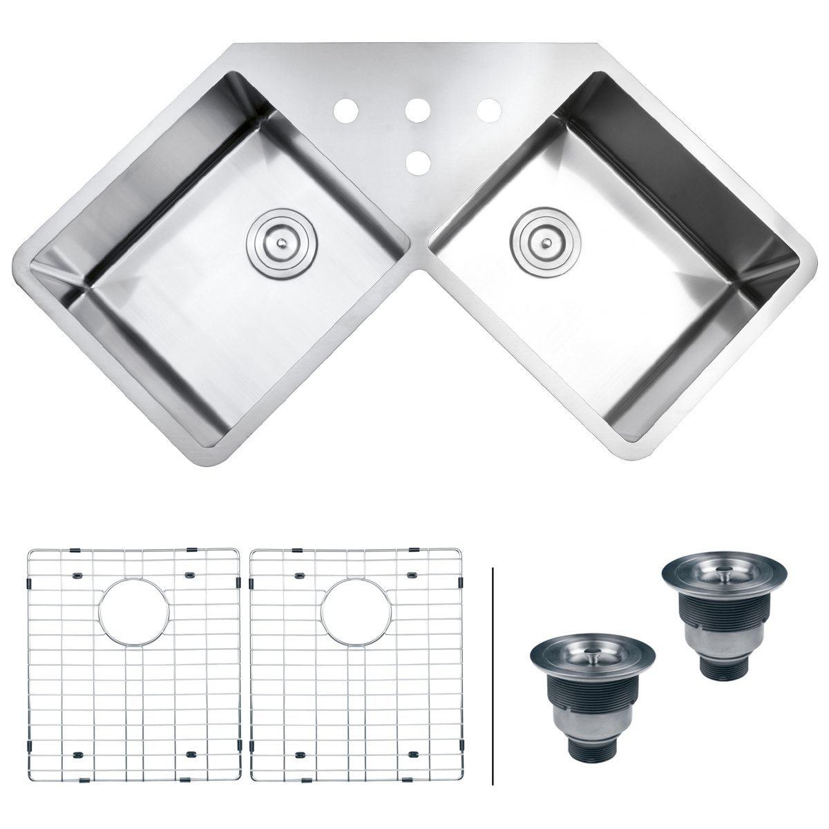 Ruvati RVH8400 Undermount Corner Kitchen Sink 16 Gauge 44