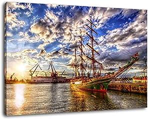 Barcos de vela en el puerto, la imagen de la lona, ??tamaño: 100x70 cm, la imagen colgada en la lona, ??imágenes enormes XXL por completo y totalmente enmarcados con camilla, Láminas en mural con marco, más barato que la pintura o la fotografía, no h