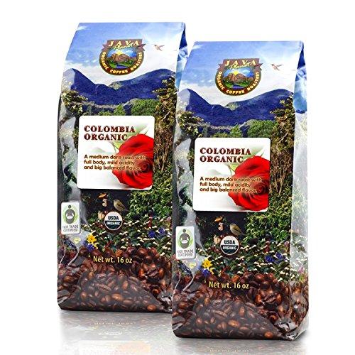 Java Planet - Colombian USDA Organic Coffee Beans, Fair Trade, Low Acid, Medium Dark Roast, Arabica Gourmet Specialty Grade A - 2 1lb bags (Gmo Free Coffee Beans compare prices)